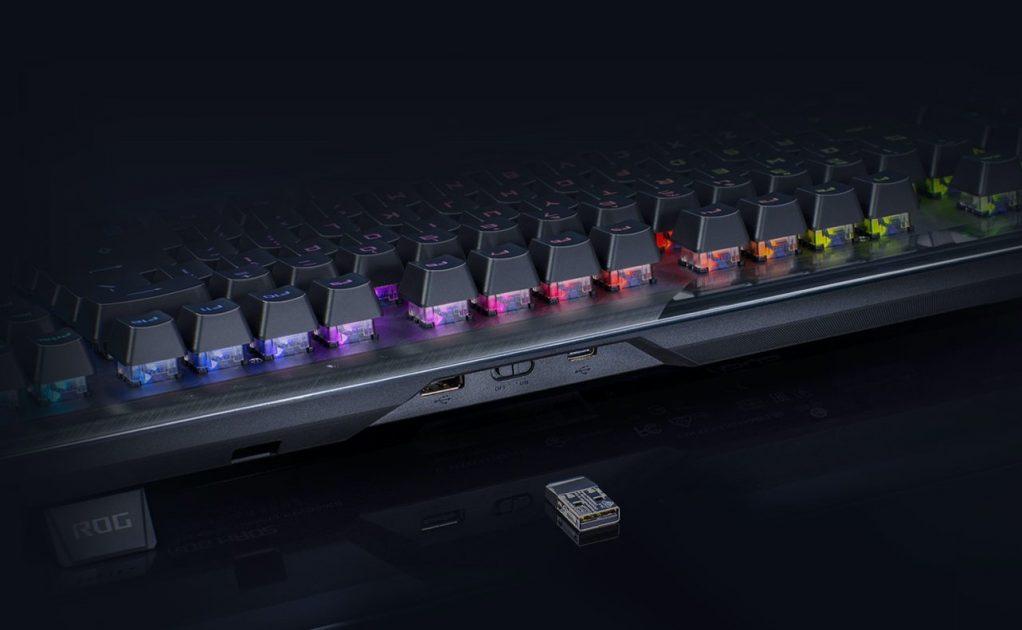 ROG Claymore II - conectică bună - Wireless pe 2,4GHz, sau pe firm Typce-C și USB Passthrough