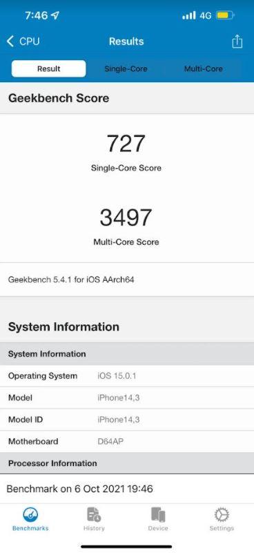 Apple procesor A15 Bionic Low Power Mode