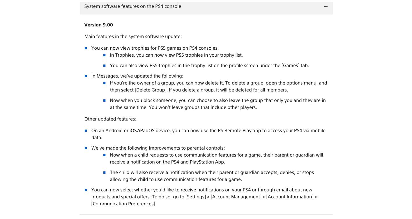 PlayStation 4 Software Update v9.00